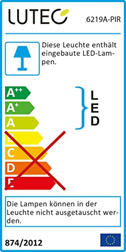 Eco Light Funktionaler LED-Außenwandstrahler mit Bewegungsmelder Shrimp, Aluminiumguß, 1380 lm, 22 W, IP54, 6219 A-PIR
